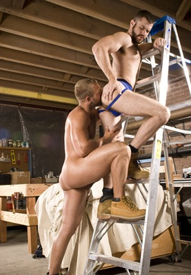rearstable horny co-workers sucking and fucking each other